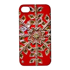 Snowflake Jeweled Apple Iphone 4/4s Hardshell Case With Stand