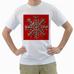 Snowflake Jeweled Men s T Shirt (white)