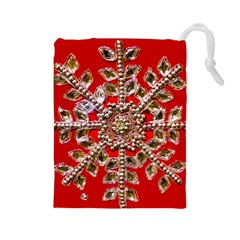 Snowflake Jeweled Drawstring Pouches (Large)