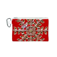 Snowflake Jeweled Canvas Cosmetic Bag (S)