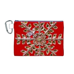 Snowflake Jeweled Canvas Cosmetic Bag (M)