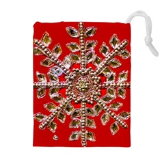 Snowflake Jeweled Drawstring Pouches (Extra Large)