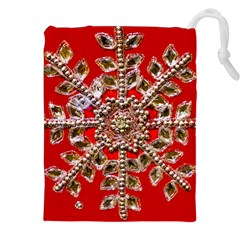 Snowflake Jeweled Drawstring Pouches (XXL)