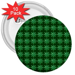 Snowflakes Square 3  Buttons (10 Pack)