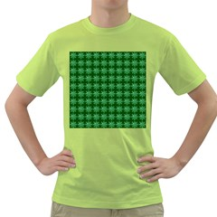 Snowflakes Square Green T Shirt