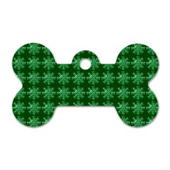 Snowflakes Square Dog Tag Bone (One Side)
