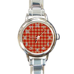 Snowflakes Square Red Background Round Italian Charm Watch
