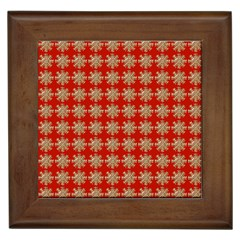 Snowflakes Square Red Background Framed Tiles