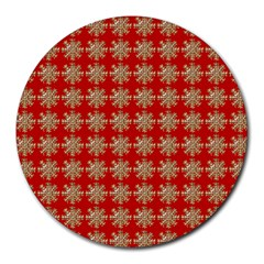 Snowflakes Square Red Background Round Mousepads