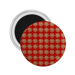 Snowflakes Square Red Background 2.25  Magnets