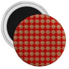 Snowflakes Square Red Background 3  Magnets