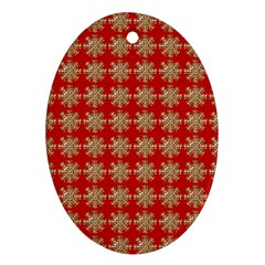 Snowflakes Square Red Background Ornament (oval)
