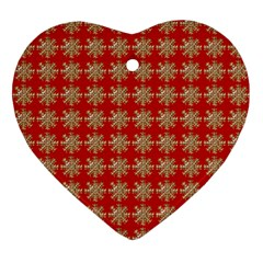 Snowflakes Square Red Background Ornament (heart)