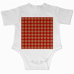 Snowflakes Square Red Background Infant Creepers