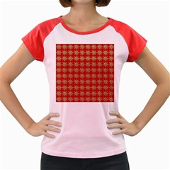 Snowflakes Square Red Background Women s Cap Sleeve T Shirt