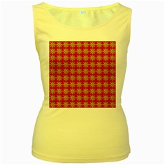 Snowflakes Square Red Background Women s Yellow Tank Top