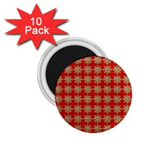 Snowflakes Square Red Background 1.75  Magnets (10 pack)