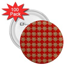 Snowflakes Square Red Background 2 25  Buttons (100 Pack)