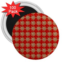 Snowflakes Square Red Background 3  Magnets (100 Pack)