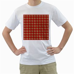Snowflakes Square Red Background Men s T-Shirt (White) (Two Sided)