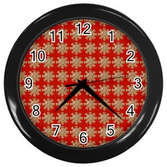 Snowflakes Square Red Background Wall Clocks (Black)