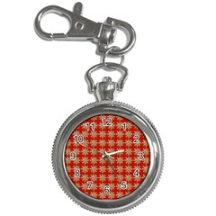 Snowflakes Square Red Background Key Chain Watches