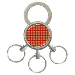Snowflakes Square Red Background 3 Ring Key Chains