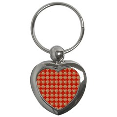 Snowflakes Square Red Background Key Chains (heart)