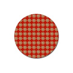 Snowflakes Square Red Background Magnet 3  (round)