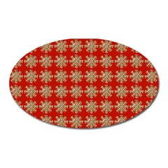 Snowflakes Square Red Background Oval Magnet