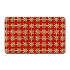 Snowflakes Square Red Background Magnet (rectangular)