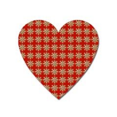 Snowflakes Square Red Background Heart Magnet