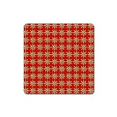 Snowflakes Square Red Background Square Magnet