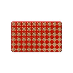 Snowflakes Square Red Background Magnet (Name Card)