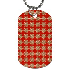 Snowflakes Square Red Background Dog Tag (one Side)