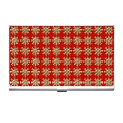 Snowflakes Square Red Background Business Card Holders