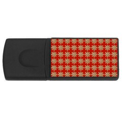 Snowflakes Square Red Background USB Flash Drive Rectangular (2 GB)