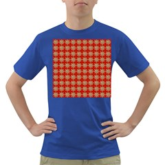 Snowflakes Square Red Background Dark T-Shirt