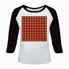 Snowflakes Square Red Background Kids Baseball Jerseys