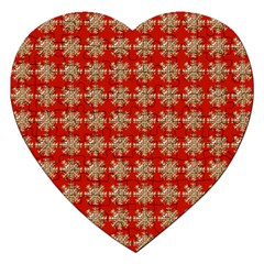 Snowflakes Square Red Background Jigsaw Puzzle (heart)