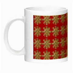 Snowflakes Square Red Background Night Luminous Mugs