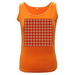 Snowflakes Square Red Background Women s Dark Tank Top