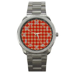 Snowflakes Square Red Background Sport Metal Watch