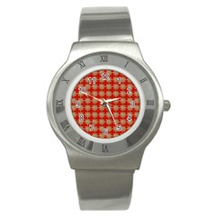Snowflakes Square Red Background Stainless Steel Watch