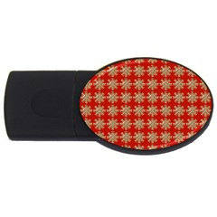 Snowflakes Square Red Background USB Flash Drive Oval (4 GB)