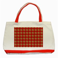 Snowflakes Square Red Background Classic Tote Bag (Red)