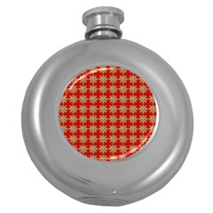 Snowflakes Square Red Background Round Hip Flask (5 oz)
