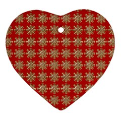 Snowflakes Square Red Background Heart Ornament (Two Sides)