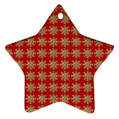 Snowflakes Square Red Background Star Ornament (Two Sides)
