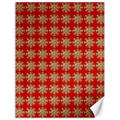 Snowflakes Square Red Background Canvas 12  x 16